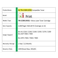 Qi Print Bro TN2280 TN450 HL2130 2280 7360 Toner Compatible * SEALED *