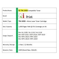 Qi Print Bro TN1000 1110 HL1100 1110 Toner Compatible *NEW SEALED*