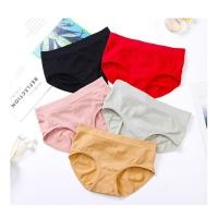 Japanese Warm Belly Underwear Women's Seamless Mid-waist Cotton Stretch Briefs Panty (Black)