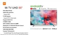 Global Version Xiaomi Smart TV UHD 55'' Netflix Google PlayStore Google Assistant