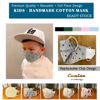 Colour Cotton Cloth face Mask Kids , Kain Mask Kanak filter insertable umur 1-10 tahun