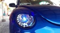 Volkswagen Beetle Head Light 98-05 Projector DRL LED Black Base