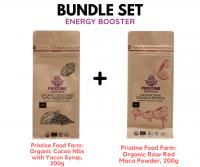 [BUNDLE SET] Pristine Food Farm: Cacao Nibs with Yacon Syrup, 200g & Organic Raw Red Maca Powder, 200g