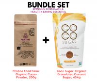 [BUNDLE SET] Pristine Food Farm: Organic Cacao Powder, 200g & Coco Sugar: Organic Granulated Coconut Sugar, 454g