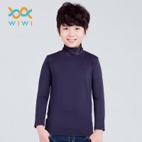 【WIWI】MIT溫灸刷毛高領發熱衣(湛海藍 童70-150)