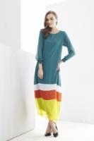 Fashion Mix Color Tunic Modern Jubah Dress