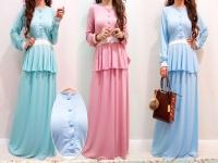 Fashion Two-Piece Modern Jubah Dress With Half Button Peplum Top & Long Skirt