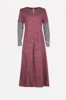Fashion Classic Half Stripe Sleeve Modern Jubah Dress With Pockets
