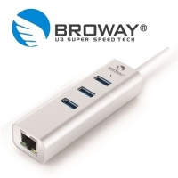 BROWAY BW-H3L1070A USB3.0 3PORT HUB hub + 1PORT Gigabit network card silver fashion
