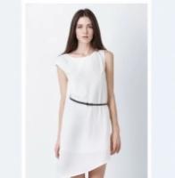 Women chiffon loose asymmetric sleeve oblique version one-piece dress