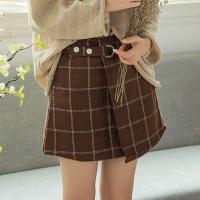High Waisted Plaid Woolen Skirt Half Length Brown Colour
