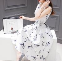 European station summer dress new women's Korean printed mid-length sleeveless dress A-line skirt