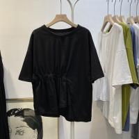 Short-sleeved T-shirt female 2020 new Korean version of ins tide irregular loose design sense high waist baby shirt tops