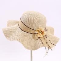 Summer Lady Straw Hat Outdoor Sun Protection Beach Hat-beige