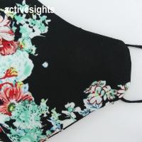 Yans Creation Batik Hitam Motif Bunga Face Mask Washable