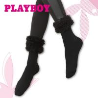 PLAYBOY velvet knee wool socks (black)