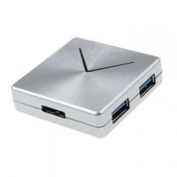 K-Line USB3.0 square metallic 4 Port HUB (silver)