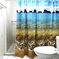 [TAITRA] PEVA Water-Resist Shower Curtain - Beach 180*180cm