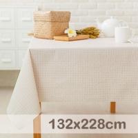 [TAITRA] CasaBella Waterproof Tablecloth Beige Weaving Stripes 132x228cm