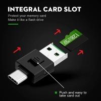 (Bill Case)2-in-1 Type-C + USB Dual Support OTG Mini Card Reader