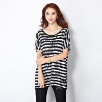[Stoney.ax] loose striped silk chiffon short-sleeved long coat - black strip