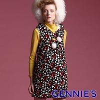 (gennies)Gennies Chi Ni 010 Series - Colorful Pattern Lantern Skirt Sleeveless Dress (T2410)