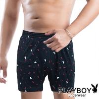 (playboy)PLAYBOY Men's Underwear Fashion Bunny Head Small Circle Print Boxer Shorts (Single-Black)
