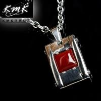 (KMK mark)KMK Titanium fine crimson earth [+ Titanium +] onyx pendant chain magnetic germanium health