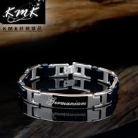 (KMK mark)KMK Titanium boutique [Story] black silicone + magnetic germanium health titanium bracelet