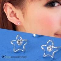 [Vic] Vina new freedom yet. Curve Star Rhinestone Earrings in Sterling Silver