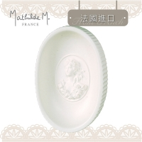 (Mathilde M.)[Mathilde M Mutien] Beautiful classical French countess elliptical embossed soap dish - white (★ French imported original company goods ★