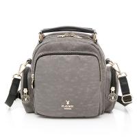 (PLAYBOY)PLAYBOY- Backpack can be slanted back / hand wrinkle era series - gray