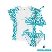 (Snapper Rock)【Snapper Rock UPF 50+ Children's Sunscreen Swimsuit】 Girls' Short-Sleeve Sunscreen Top + Bikini Swimsuit ? Aqua Blue Mermaid