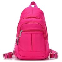 (I.Dear)[I.Dear] Men and women casual washable nylon zipper 3way chest backpack shoulder backpack (BG74 pink)