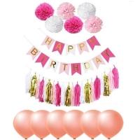 Rose red paper flower tassel group celebration birthday happy birthday set