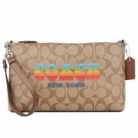 (COACH)COACH Classic Silk Flower C LOGO Rainbow Doodle Handle / Portable Dual-use Bag (Khaki)