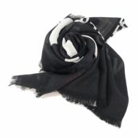 (burberry)BURBERRY Horseferry Printed Lightweight Wool Silk Scarf (Black)