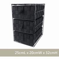 (CasaBella)CasaBella Beautiful Home Storage Basket Woven Basket Storage Basket Three Drawers Black