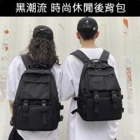 (CHOSEN)CHOSEN Street black trendy fashion chest buckle design wear-resistant large capacity 14-inch laptop backpack backpack 01190