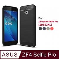 (dido shop)Zenfone 4 Selfie Pro ZD552KL Carbon Fiber Silicone Case Shell Case (SX003) Black