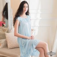 (Annabery)Plus Size Annabery fantasy blue and fresh soft satin pajamas