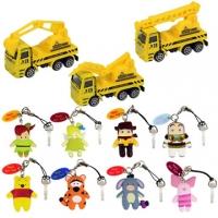[Genuine Disney] Disney Charm + Q version protagonist dust plug into the bonus 8 3 alloy construction vehicles