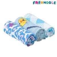 (FARANDOLE)FARANDOLE No lint extremely soft double-layer bamboo fiber wrap towel - 3 pcs gift box (Morandi Lucky Leopard + Blue Back ground French Bulldog + Blue Grid Pattern)