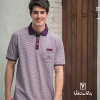 (Valentino Rudy)Valentino Rudy Van Loren. Ludi - moisture wicking Polo shirt - purple strip dark purple collar