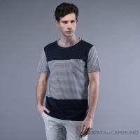 (ROBERTA)ROBERTA Norberta Made in Taiwan Anti-UV Comfort Cotton Stripe Short Sleeve Casual Cotton Shirt RAE20-39 Dark Blue