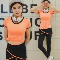 [Fox] Ji yoga wear silk mix fashion fake two-piece sportswear quick-drying sweat yoga clothing (orange M-XL)