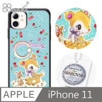 (apbs)Sanrio iPhone 11 6.1-inch Shihua Colored Diamond Drop-resistant Ring Buckle Phone Case-Cherry Hani Deer