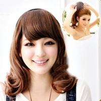 Semi-top DIY headband cute Korean girl long curly hair