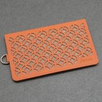 jarraa carved leather backing clip Amber Orange
