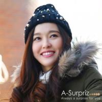 (A-Surpriz )A-Surpriz embroidery rivet pearl sweet wool cap (black wool gold star)